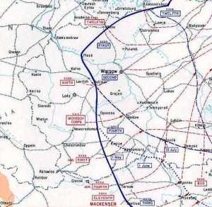A map showing the Eastern Front in central Poland in 1915. Bolimow is soutwest of Warsaw on the railroad line between there and Lodz