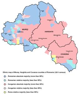 Ethnic Map of Szekely Land - 2011 census