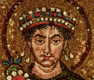 Justinian in close up from a mosaic