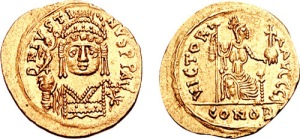 Justin II as represented on a solidus (golden coin) from his reign