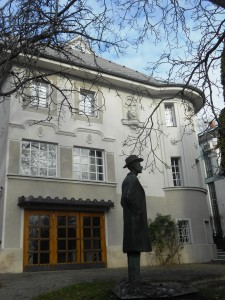 Statue of Bela Bartok - outside his Memorial House in the hills of Buda