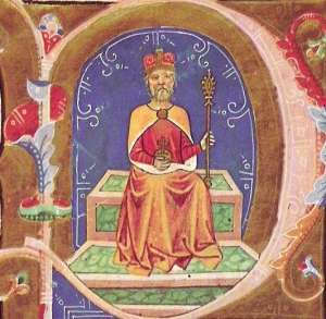Geza - Prince of the Hungarians as depicted in a 14th century illuminated chronicle