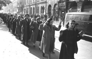 Jewish women being arrested in Budapest 1944