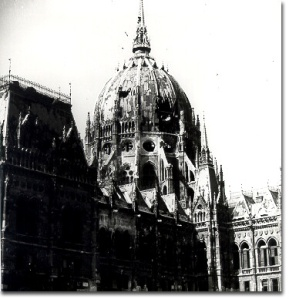 The dome of the Hungarian Parliament was heavily damaged during the siege