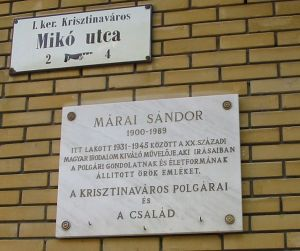 Memorial plaque in Buda at the site of Marai's home from 1931-45 in District I - Krisztinavaros