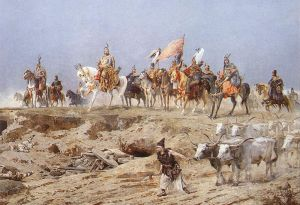 Detail from Arrival of the Hungarians by Arpad Feszty