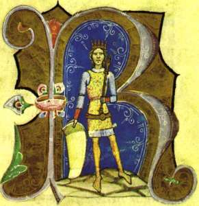 Géza II as depicted in the Chronica Hungarorum