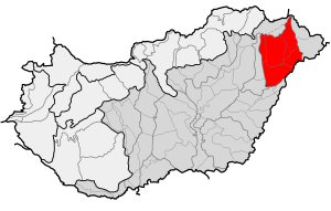Nyírség region (shaded in red) is in northeastern Hungary