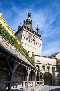 The Clock Tower stands as a foreboding sentinel in Sighisoara's Old Town