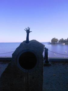 Monument to the Pajtas disaster that stands on the Balatonfured promenade