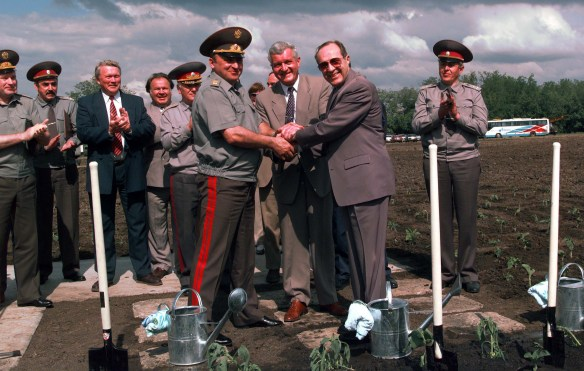 Ceremony at dismantled nuclear missile silo in Pervomaysk, Ukraine in 1996