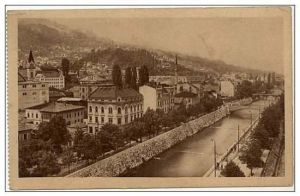 Postcard of Sarajevo along the Miljacka River in 1900