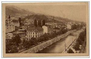 Postcard of Sarajevo along the Miljacka River in 1900