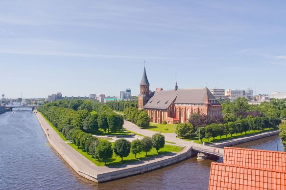 A remnant of Konigsberg still exists with the Old Cathedral - Kaliningrad looms in the distance