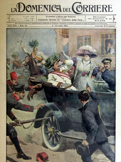 An Italian newspaper drawing depicting Gavrilo Princip killing Archduke Francis Ferdinand of Austria in Sarajevo