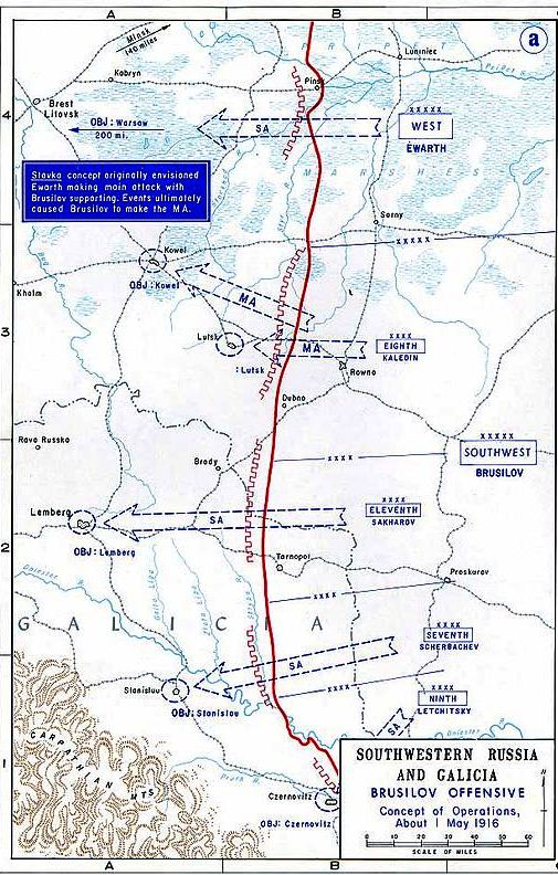 Map showing the initial advance of Kaledin's 8th Army - It could have been so much more