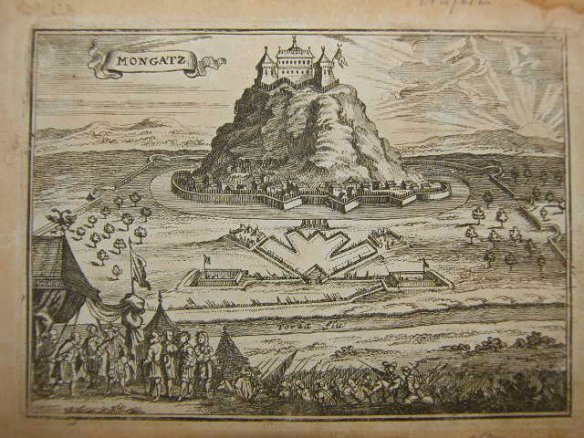 Palanok Castle & Munkacs - drawing from 1686