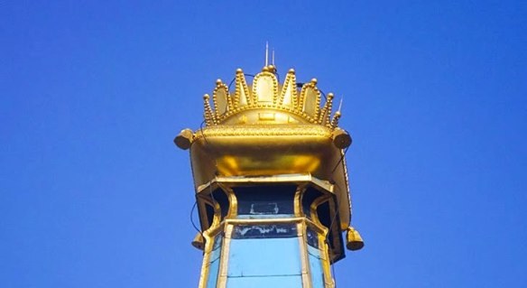 Crowning achievement - The gold plated replica of the Holy Crown of Hungary atop St. Martin's Cathedral