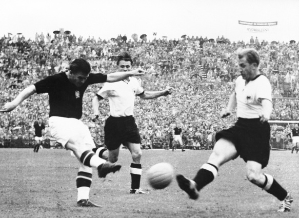 Ferenc Puskas in action against the West Germans during the Miracle of Bern