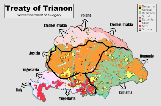 Treaty of Trianon - this map shows the vast consequences of the Paris Peace Settlement which dismembered Historic Hungary