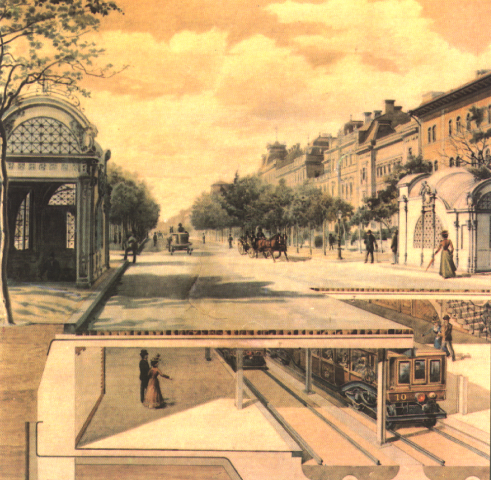 Artwork showing Andrassy Avenue and the Millenium Underground Railway in 1896