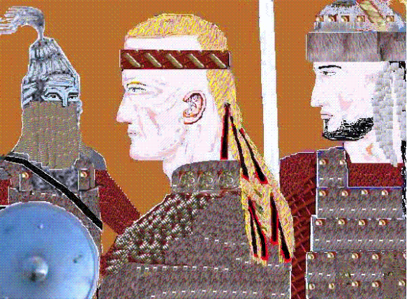 Depiction of Avar warriors