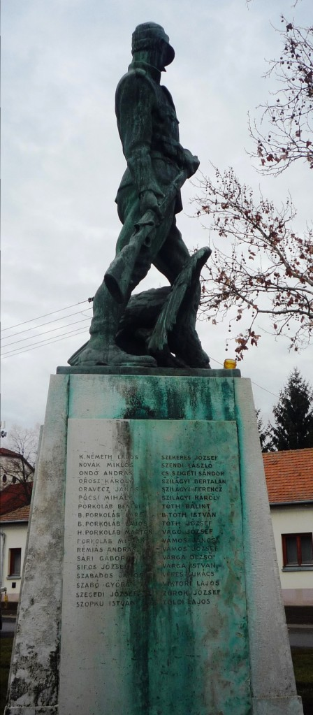 Weather worn, but still standing - World War I Monument in the eastern Hungarian village of Tiszadob
