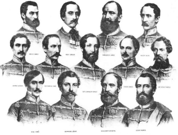 The 13 Martyrs of Arad - Lithography by Miklós Barabás