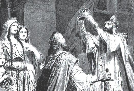 Artistic depiction of Stephen I being crowned King of Hungary by Pope Sylvester II