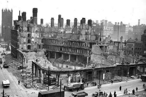 Damage from Luftwaffe bombing of Manchester, England during World War II
