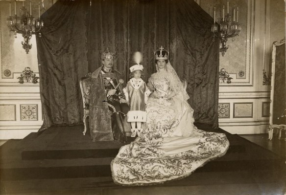 Emperor Charles I, his wife Empress Zita and son Otto at the last coronation on December 30, 1916