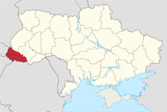 Map of Ukraine with Zakarpattia Oblast in red