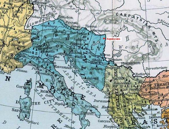 Map showing the location of Aquincum within the Roman Empire