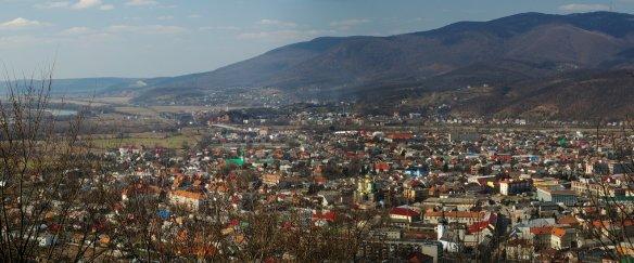 Panorama of Khust, Ukraine - the capital of the Republic of Carpatho-Ukraine (Credit: Власна робота)