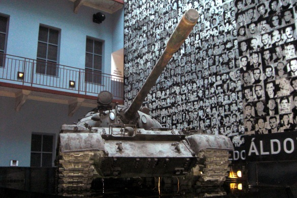A Soviet Tank in front of the wall of victims at the House of Terror Museum in Buda (Credit: drcw)