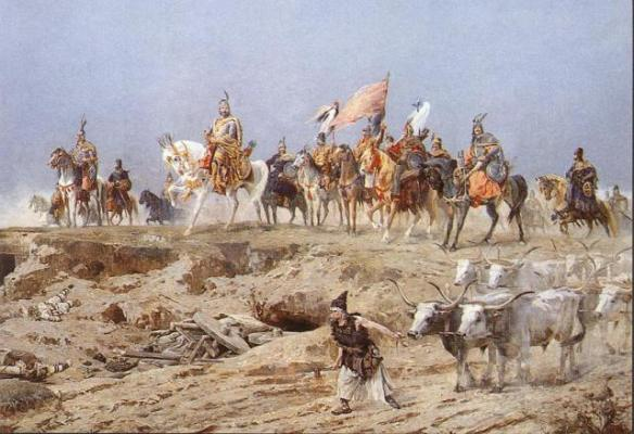 Color detail of Arpad and the Chieftains from Arrival of the Hungarians - by Arpad Feszty