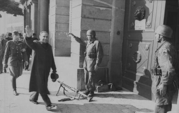 Ferenc Szalasi in Budapest after he took control of the government in the latter part of 1944