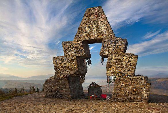Memorial to Hungarian conquest of Carpathian Basin at Verecke Pass, Ukraine - Credit: Юрій Крилівець