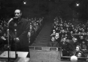 Szalasi on trial before the peoples tribunal (Credit: Yad Vashem)
