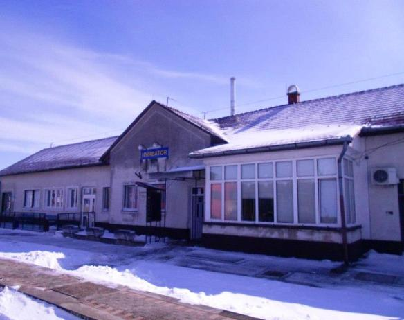 The ice coated train station at Nyirbator, Hungary on a cold winter day