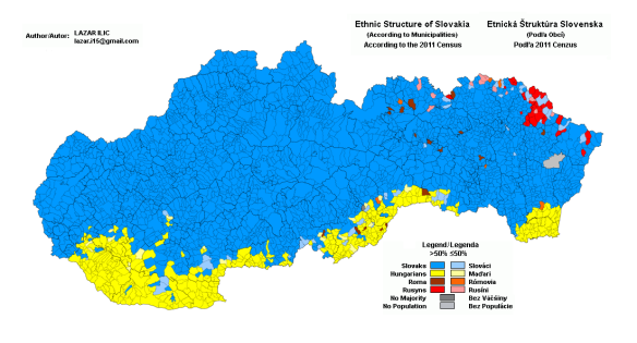 Ethnic map of Slovakia - Hungarians are still predominant in the southern part of the country