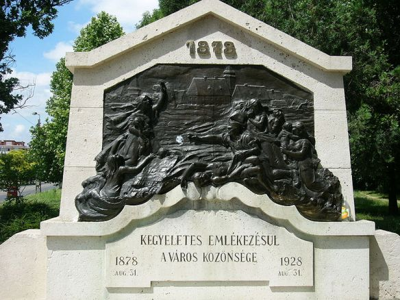 Memorial to the Great Flood of 1878 in Miskolc - the worst in Hungary during the 19th century (Credit: Serinde)