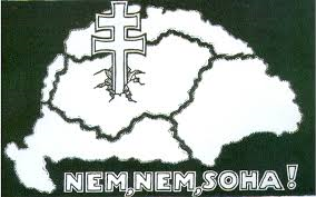 Post-World War One Hungarian propaganda poster stating Nem, Nem, Soha (No, No, Never) - showing the losses incurred by Hungary due to the Treaty of Trianon
