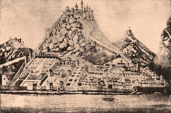 A drawing of Visegrad Castle during the reign of King Matthias Corvinus