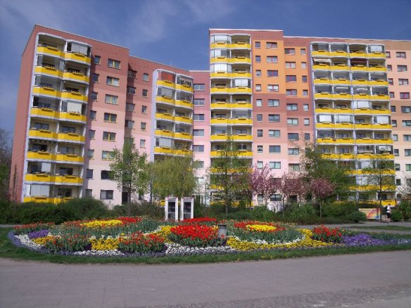 An apartment block in East Berlin - putting a coat of color on the past