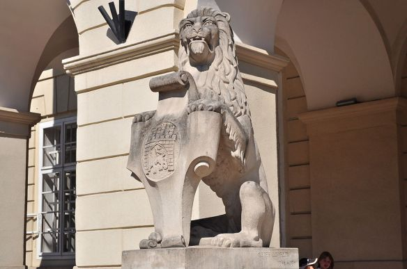 Lion holding a shield with the coat of arm of Lviv outside the Ratusha (Town Hall)