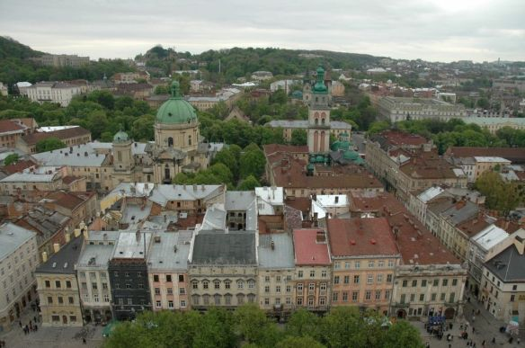 Lviv's Old Town as viewed from the tower at the top of the Ratusha (Town Hall)