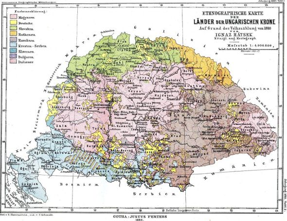 Map of the Kingdom of Hungary showing the linguistic makeup according to the 1880 census