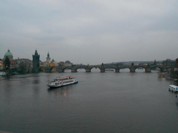 The Vltava River with the Charles Bridge in the distance