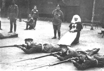 Russian female soldiers at shooting practice